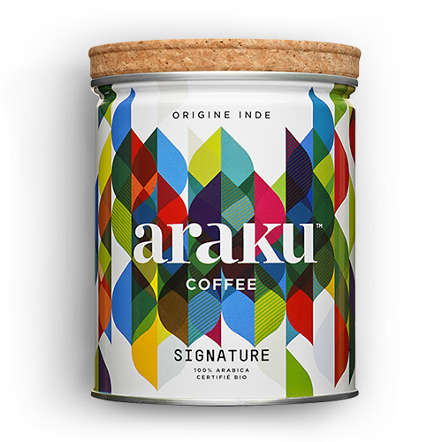 Boite - grains, moulu - café Signature - Araku Coffee