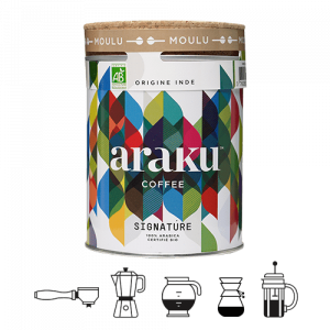 boite de cafe moulu de 200g du cafe signature araku coffee